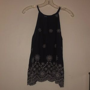 navy blue flower tank top !!